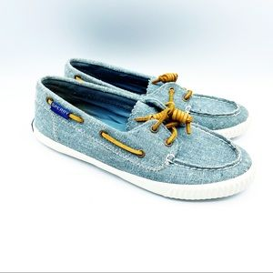 Sperry Blue Canvas Boat Shoe loafer canvas Leather